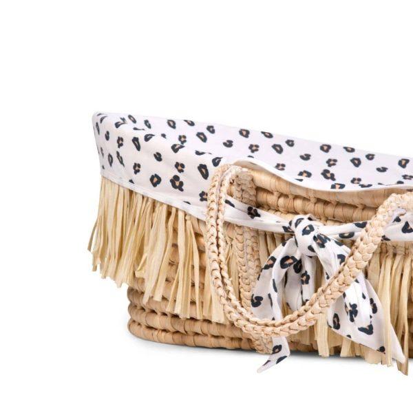 couffin moïse raphia naturel avec matelas & housse jersey léopard childhome (8)