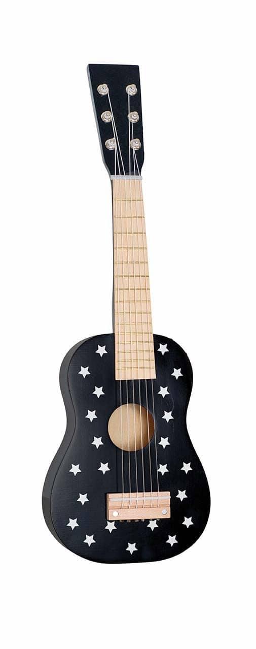 guitare en bois noir étoiles