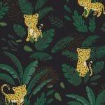 Papier peint Jungle Léopard et feuillages
