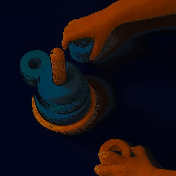 Tour d'anneaux à empiler Adventure Blue Little Dutch