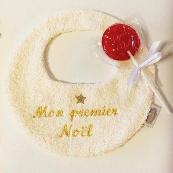 """Bavoir brodé """"Mon premier Noël"""""""