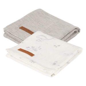 Lange bébé Ocean White & Pure Grey (lot de 2) - Little Dutch