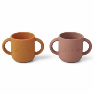 Set de 2 tasses en Silicone Gene Cat Dark Rose - Liewood