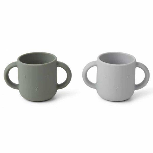 Set de 2 tasses à anses en Silicone Gene Rabbit Faune Green - Liewood