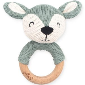 Hochet anneau de dentition Biche en tricot Vert cendre - Jollein