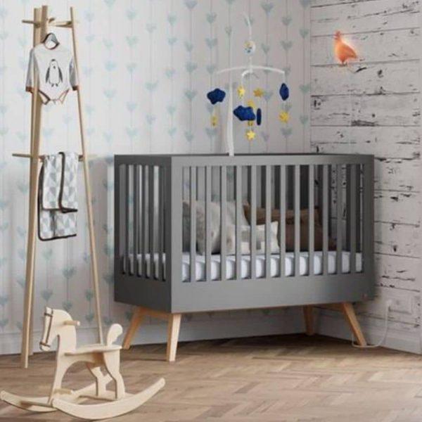lit bébé évolutif nature gris 70 x 140 cm vox