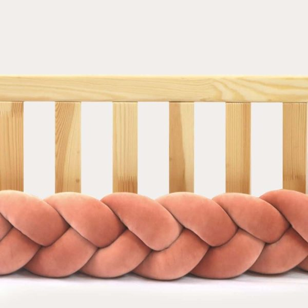 Tour de lit tressé pour bébé velours Brique