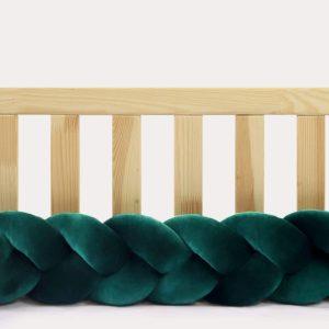 Tour de lit tressé pour bébé velours Vert bouteille