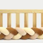 Tour de lit tressé pour bébé velours Vanille-Cannelle-Saumon
