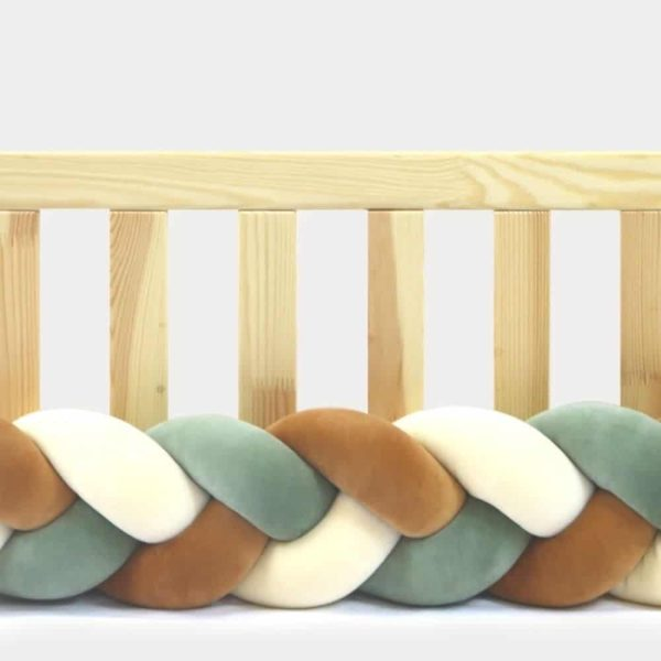 Tour de lit tressé pour bébé velours Vanille-Cannelle-Eucalyptus