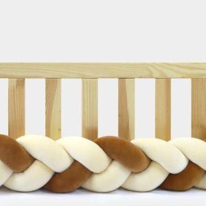Tour de lit tressé pour bébé velours Vanille-Cannelle