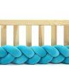 Tour de lit tressé pour bébé velours Bleu lagon