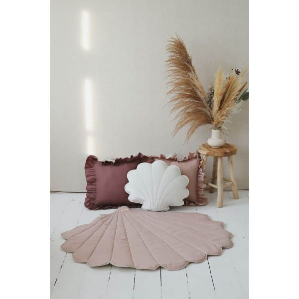 Tapis lin coquillage rose poudré