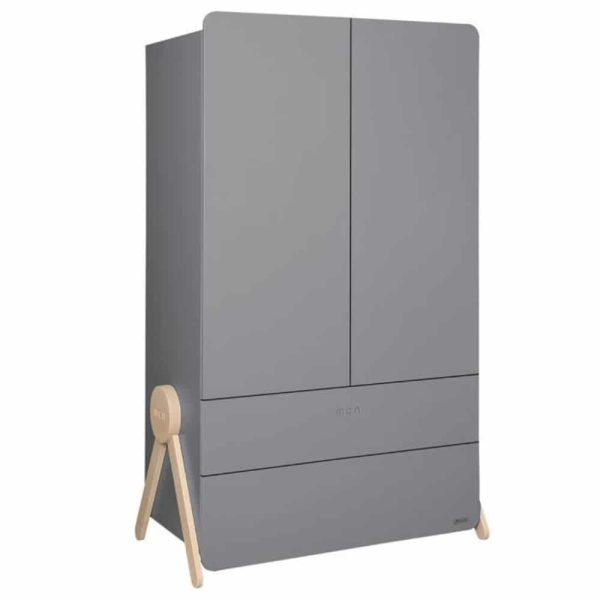 armoire en bois 2 portes swing gris micuna