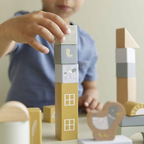 blocs de construction en bois bleu little dutch (5)
