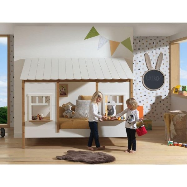 lit cabane housebed 90 x 200 cm blanc & bois vipack (2)