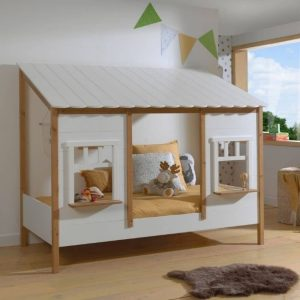 lit cabane housebed 90 x 200 cm blanc & bois vipack