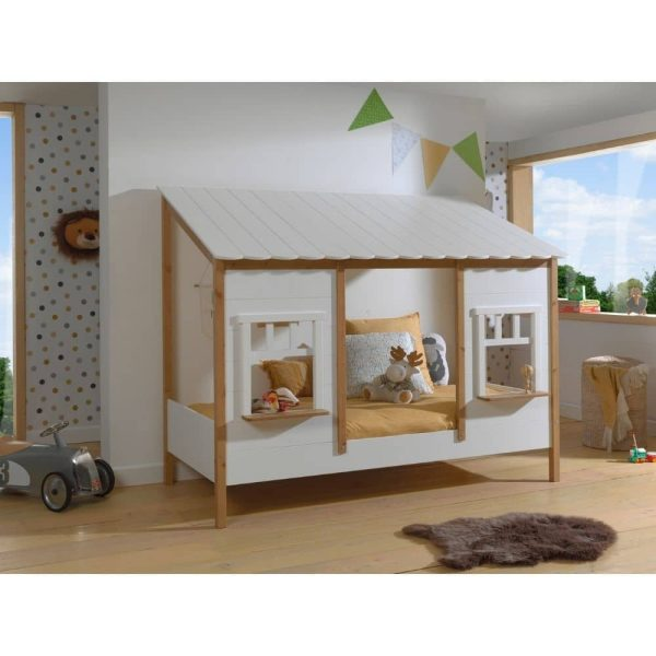 lit cabane housebed 90 x 200 cm blanc & bois vipack (4)