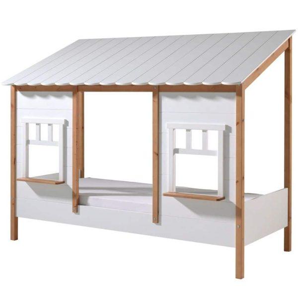 lit cabane housebed 90 x 200 cm blanc & bois vipack (5)
