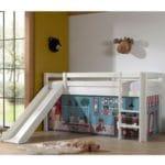 lit cabane toboggan pino 90 x 200 cm blanc – vipack