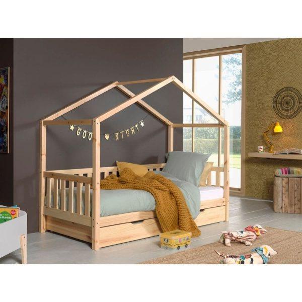 lit cabane en bois dallas barrières incluses 90 x 200 cm – vipack