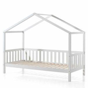 lit cabane en bois dallas barrières incluses 90 x 200 cm blanc – vipack (1)