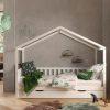 lit cabane en bois dallas barrières incluses 90 x 200 cm blanc – vipack