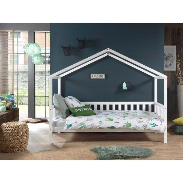 lit cabane en bois dallas barrières incluses 90 x 200 cm blanc – vipack (4)
