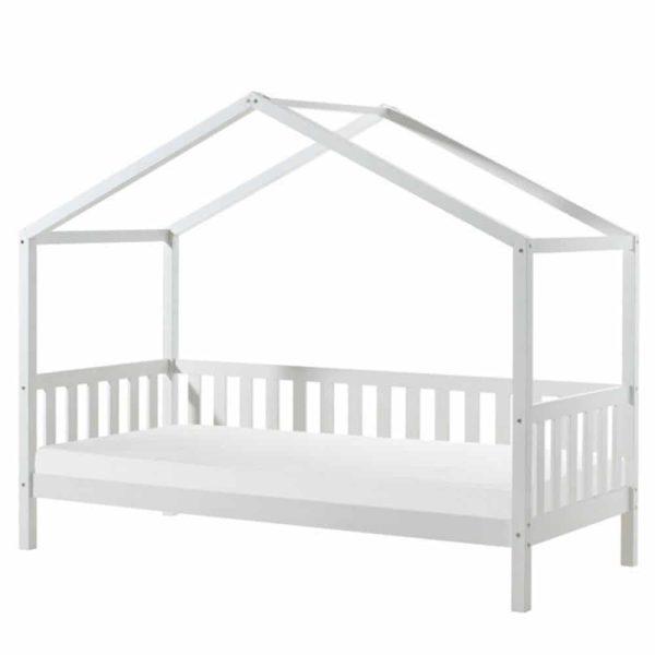 lit cabane en bois dallas barrières incluses 90 x 200 cm blanc – vipack (5)