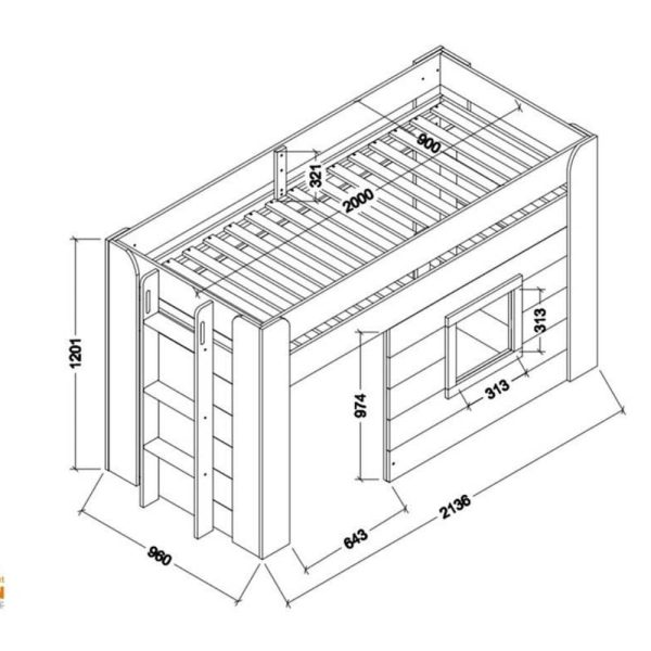 lit cabane mi hauteur noah 90 x 200 cm blanc – vipack (2)