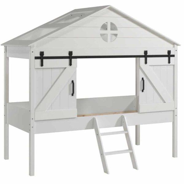 lit cabane surélevé barnie 90 x 200 cm blanc – vipack (1)