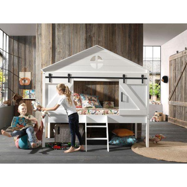 lit cabane surélevé barnie 90 x 200 cm blanc – vipack (2)