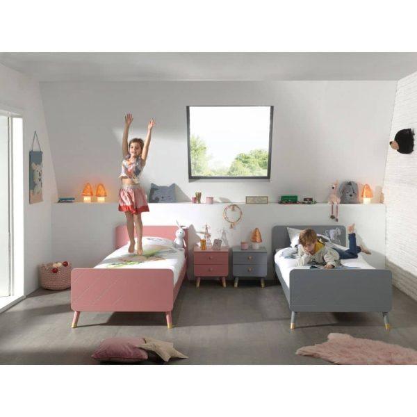 lit enfant en bois billy 90 x 200 cm gris timeless vipack (6)