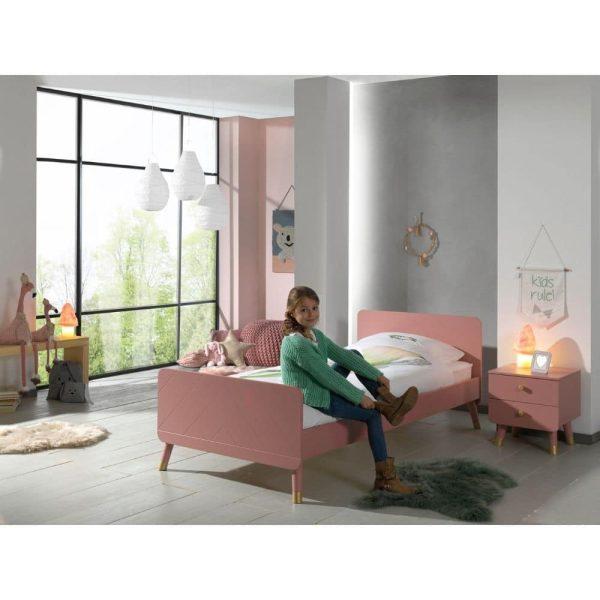 lit enfant en bois billy 90 x 200 cm rose terra vipack (6)