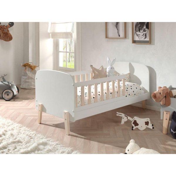 lit junior kiddy 70 x 140 cm blanc & bois – vipack (2)