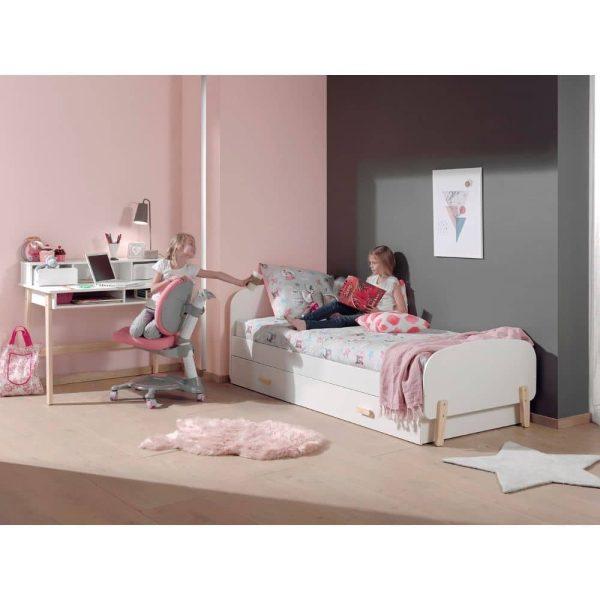 lit enfant en bois kiddy 90 x 200 cm blanc vipack (3)
