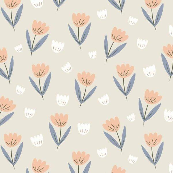 papier peint fleur pêche (1)
