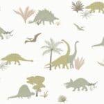 papier peint enfant dinosaures gris & olive (1)