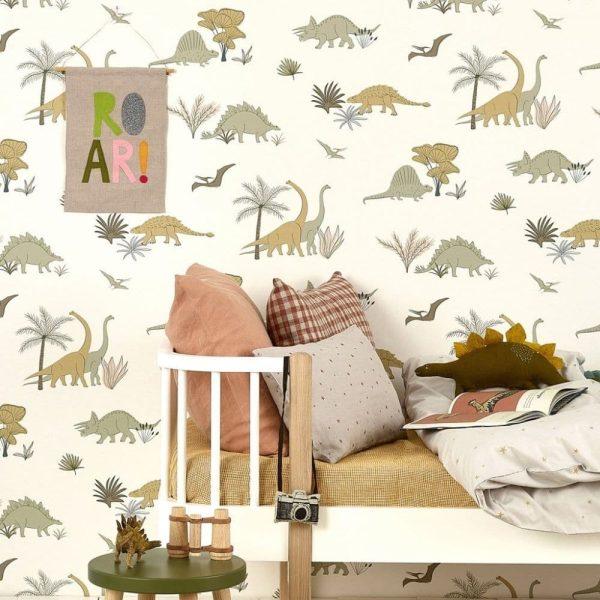papier peint enfant dinosaures gris & olive (3)