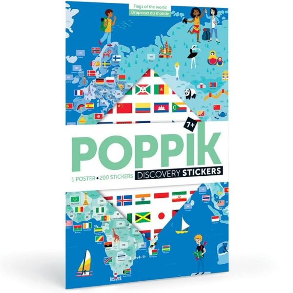 poster éducatif + 200 stickers drapeaux du monde poppik (1)