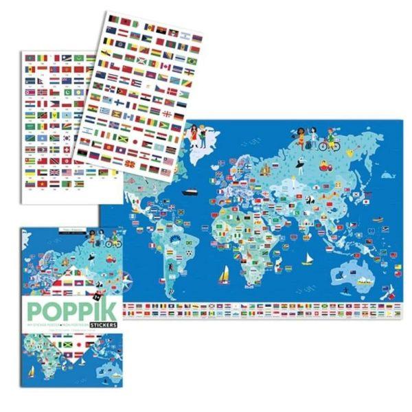 poster éducatif + 200 stickers drapeaux du monde poppik (9)