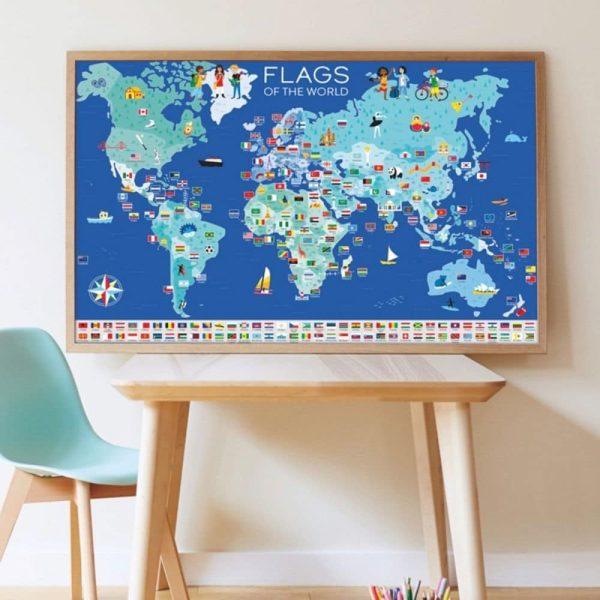 Poster éducatif + 200 Stickers Drapeaux du Monde - Poppik
