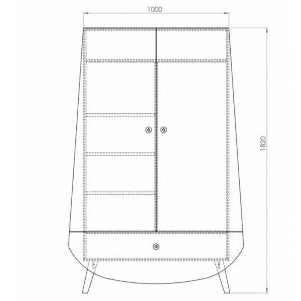 armoire 2 portes 1 tiroir trapèze (8)