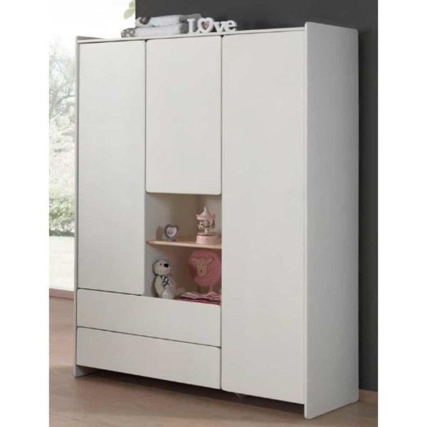 armoire en bois 3 portes kiddy blanc vipack (3)