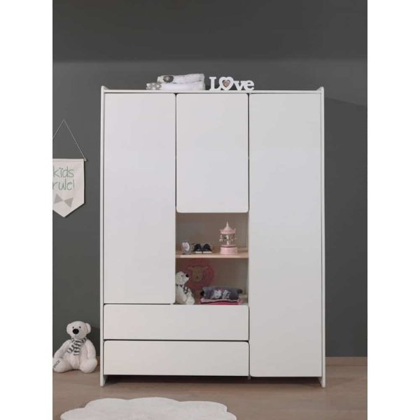 armoire en bois 3 portes kiddy blanc vipack (4)