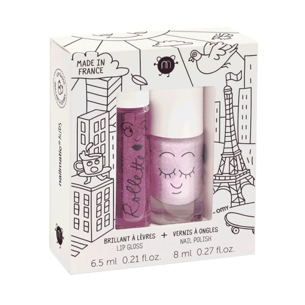 coffret duo rollette + vernis lovely city nailmatic kids
