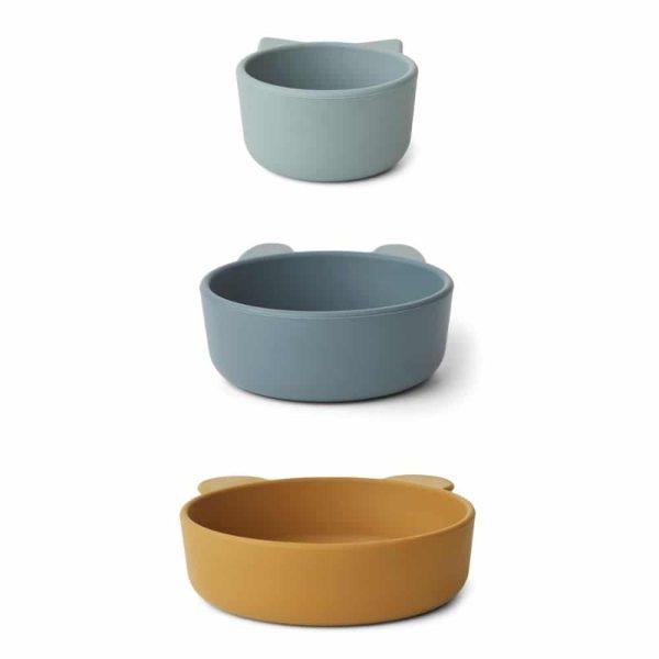Set de 3 bols en silicone Eddie Golden Caramel/Blue multimix - Liewood