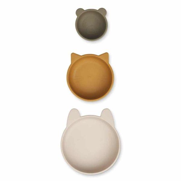 Set de 3 bols en silicone Eddie Sandy Khaki multimix - Liewood
