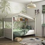 lit cabane en bois blanchi nairobi 90 x 200 cm diagone