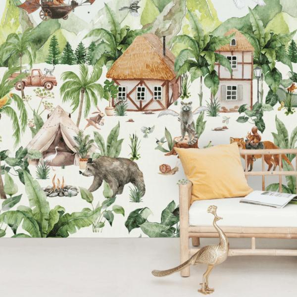 papier peint magical village 1